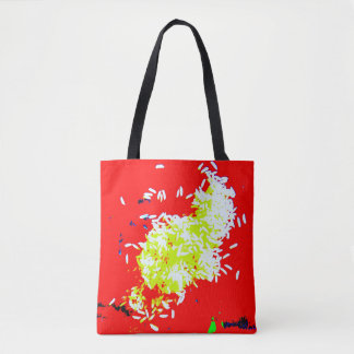 Tote Bag Marché rouge Fourre-tout de riz heureux