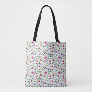 Tote Bag Marguerite rose et bleue Fourre-tout