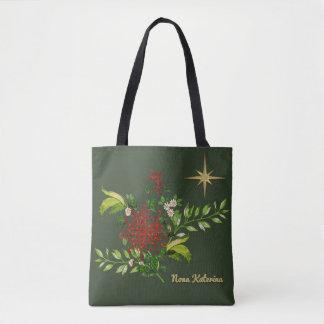 Tote Bag Marguerites de Noël d'aquarelle personnalisées