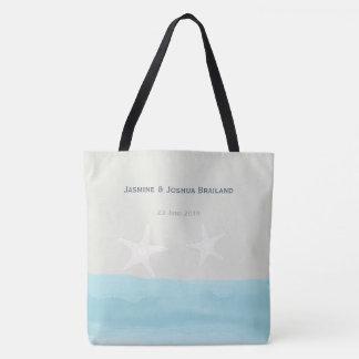 Tote Bag Mariage de plage bleu d'étoiles de mer d'aquarelle