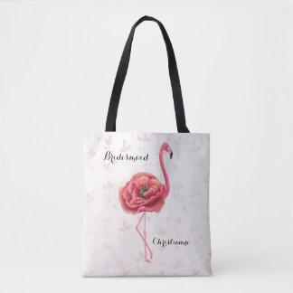Tote Bag Mariage fleurissant rose de demoiselle d'honneur