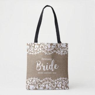 Tote Bag Mariage rustique de toile de jute de dentelle de