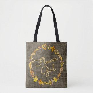 Tote Bag Mariage rustique de toile de jute de guirlande