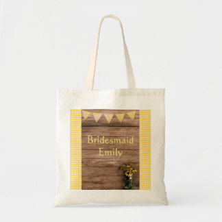 Tote Bag Mariage rustique de tournesol et de guingan