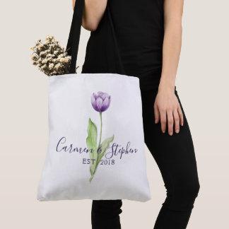 Tote Bag Mariage simple mauve-foncé minimaliste de tulipe