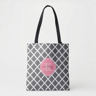 Tote Bag Marocain gris-foncé et rose Quatrefoil Monogam