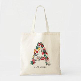 Tote Bag Marquez avec des lettres un monogramme floral |