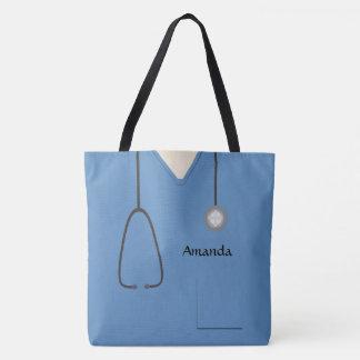Tote Bag Médical frotte l'infirmière AOPM bleu