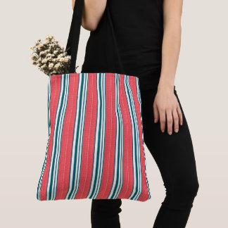 Tote Bag Mer-Sac-Rayure-Rouge-Vert-Emballage-Épaule-Sac