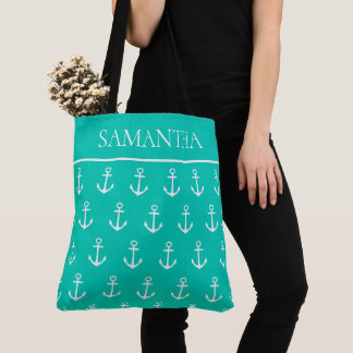 Tote Bag Mer tropicale d'île et ancres blanches
