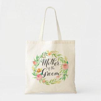 Tote Bag Mère de l'aquarelle Wreath6 floral de marié