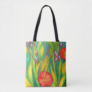 Tote Bag Milieu Fourre-tout d'iris et de pavots