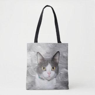 Tote Bag Minou gris et blanc de smoking