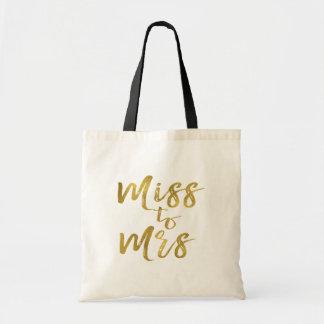 Tote Bag Mlle à la feuille d'or de partie de douche de Mme