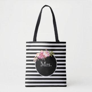 Tote Bag Mme avec les rayures et les fleurs noires et