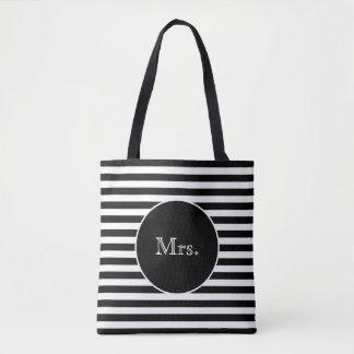 Tote Bag Mme avec les rayures noires et blanches