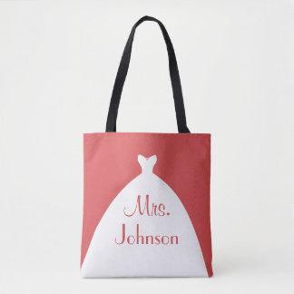 Tote Bag Mme rouge et blanc de robe de mariage