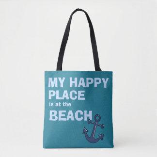 Tote Bag Mon endroit heureux est à la Plage-Plage