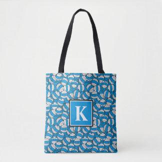 Tote Bag Monogramme bleu du motif | de confusion de M. Bump