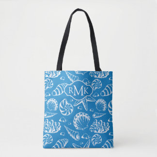 Tote Bag Monogramme bleu du motif | de plage