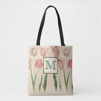 Tote Bag Monogramme botanique vintage