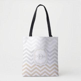 Tote Bag Monogramme Chevron d'or de gris argenté