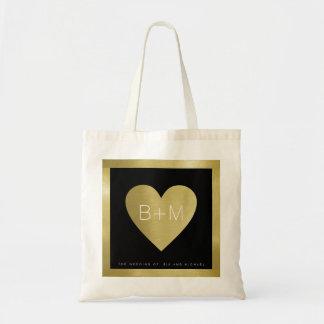 Tote Bag monogramme classique élégant, amour de mariages