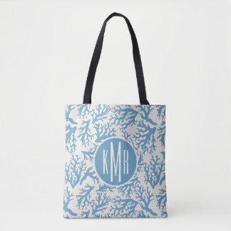 Tote Bag Monogramme de corail bleu du motif |