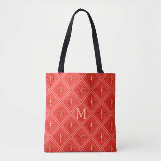 Tote Bag Monogramme de corail de motif de French Fleur de