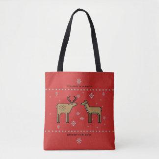Tote Bag Monogramme de couples de renne de Noël