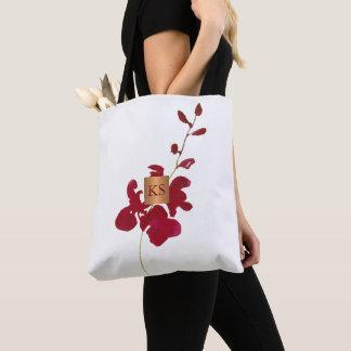 Tote Bag Monogramme de cuivre métallique d'orchidée rouge