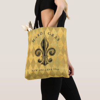 Tote Bag Monogramme de harlequin de Fleur-De-lis de mardi
