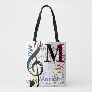 Tote Bag monogramme de note de musique de clef triple avec