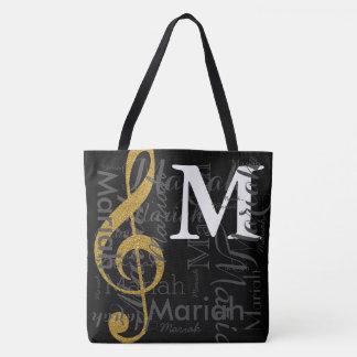 Tote Bag monogramme de note de musique de clef triple d'or