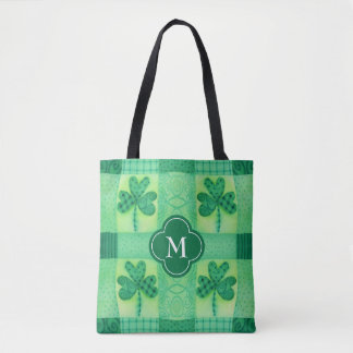 Tote Bag Monogramme de patchwork de shamrock