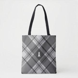 Tote Bag Monogramme de plaid de charbon de bois et de gris