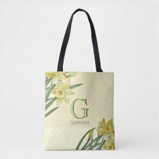 Tote Bag Monogramme de portrait de fleur de jonquilles