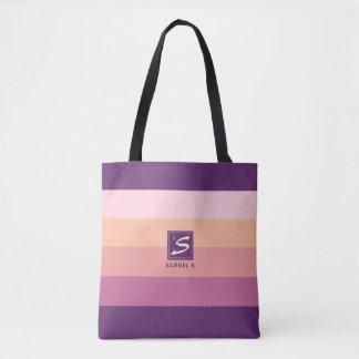 Tote Bag Monogramme de rayure de palette de couleurs de
