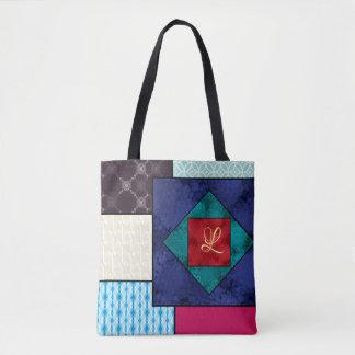 Tote Bag Monogramme d'édredon de patchwork
