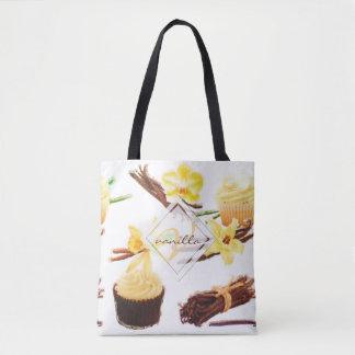 Tote Bag Monogramme doux d'orchidée de vanille d'aquarelle