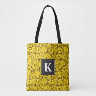 Tote Bag Monogramme du motif | de sourires de jaune