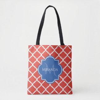 Tote Bag Monogramme et nom bleus rouges à la mode de