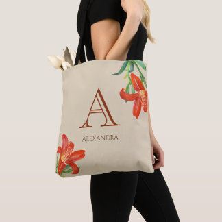 Tote Bag Monogramme floral d'art de lis orange d'aquarelle