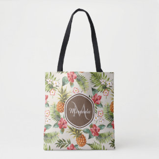 Tote Bag Monogramme floral de Brown d'ananas tropical