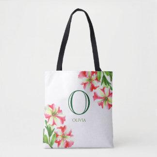 Tote Bag Monogramme floral de pétunias blancs roses