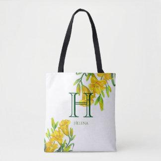 Tote Bag Monogramme floral jaune d'hémérocalles d'aquarelle