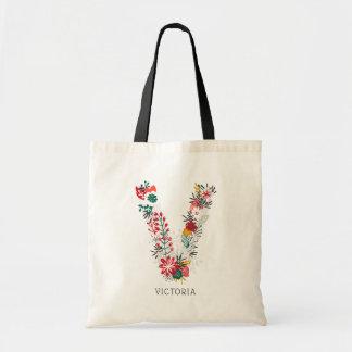 Tote Bag Monogramme floral | lunatique I de lettre de la