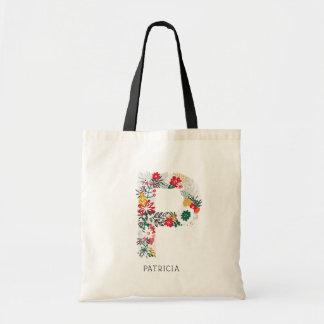Tote Bag Monogramme floral lunatique I de lettre de la
