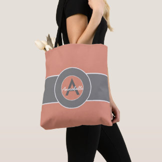 Tote Bag Monogramme gris rose personnalisé