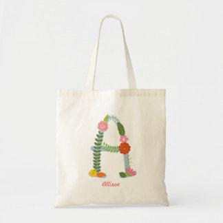 Tote Bag Monogramme lunatique rustique de fleur (a)